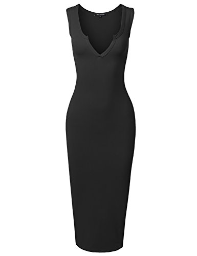 Fitted Sexy Solid Split Neck Line Front Body-Con Midi Dress Black M (Sexy Dresses Fitted)
