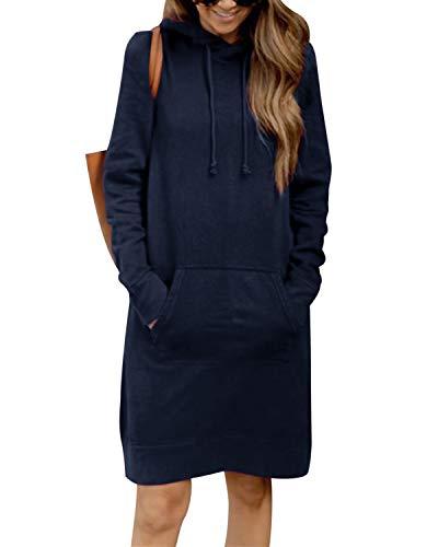 KIDSFORM Dames lange hoodies sweatshirt truien dames lange mouwen effen capuchon jumper jurken losse stropdas geverfd…