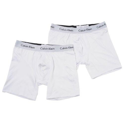 Comfort Stretch Microfiber Brief (Calvin Klein Men's 2-Pack Microfiber Stretch Boxer Brief, White/White, Medium)