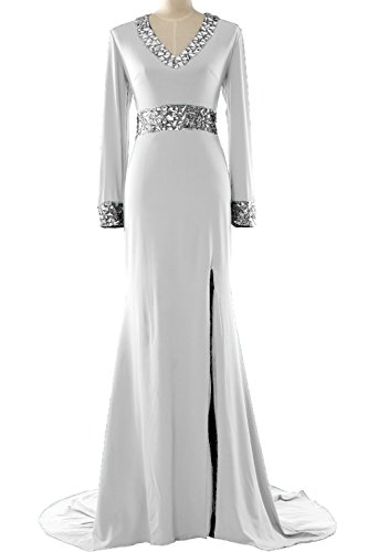 MACloth Women Long Sleeve Mother of the Bride Dress V Neck Formal Evening Gown Blanco