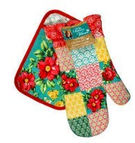 The Pioneer Woman Patchwork Kitchen Set Oven Mitt and Pot Holder