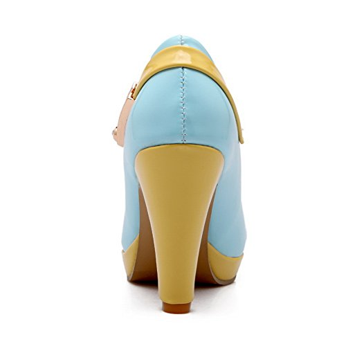 Matching Pumps Color Imitated Bottom Shoes BalaMasa Girls Leather Ornament Thick Metal Blue Heel gAwxEnvaq