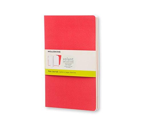 Moleskine Volant Journal (Set Of 2), Large, Plain, Geranium Red, Scarlet Red, Soft Cover (5 X 8.25)