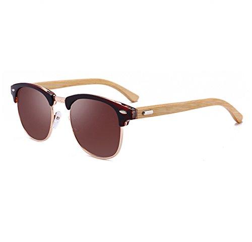 en polarisées de classique lunettes bois Brun hommes Huateng de UV400 femmes lunettes Rétro et demi Brun soleil Lunettes bambou ZRnzAw0qx