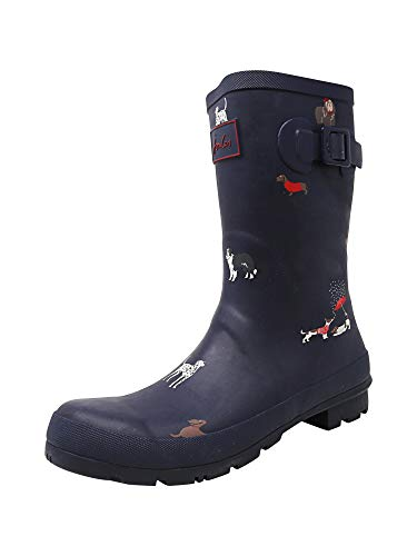 Joules Women's Molly Welly Navy Dogs Knee-High Rubber Rain Boot - 9M (Boots Dog Rubber)