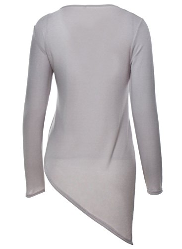 ACHICGIRL Mujer Camiseta Irregular Mangas Largas Cordón-arriba de Color Sólido gris