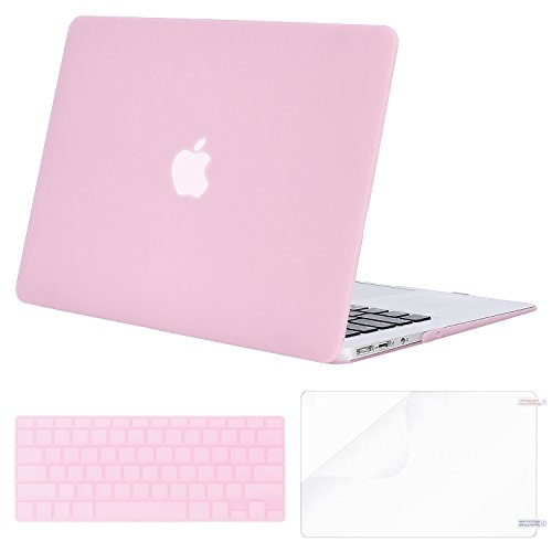 MOSISO Plastic Hard Case & Keyboard Cover & Screen Protector Only Compatible MacBook Air 13 Inch (Models: A1369 & A1466, Older Version Release 2010-2017), Clear Pink
