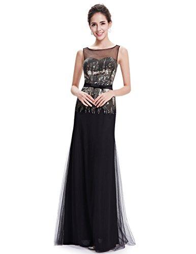 Pailetten Pretty Damen Rundhals Ever Abendkleid Elegant Schwarz 08602 zAIgFgq