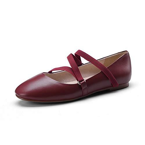 Elastic Band Leather Womens Red Pumps Shoes DGU00895 Cow AN xa1wqE4a