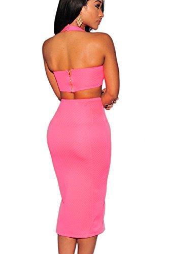 Elegante de 2 piezas Vestido de las mujeres corte Bodycon Vestido
