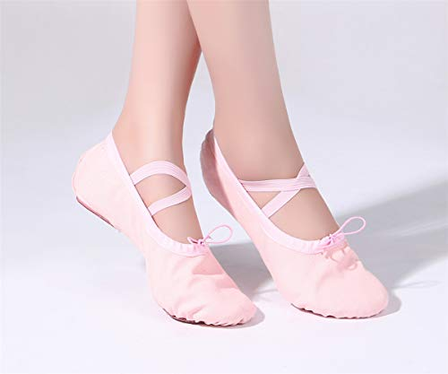 Shoes Split Flat Ballet Yoga Canvas Practice Shoes Pink Slippers Women's Belly BOfp6Pqx