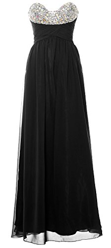 MACloth Women Strapless Long Prom Dress Classic Chiffon Formal Evening Gown Negro