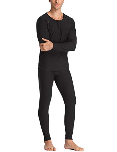 LALAVAVA Lusofie Men's Heavyweight Cotton Thermals Set Shirt & Underwear Long Johns Base Layer (Black,X-Large)