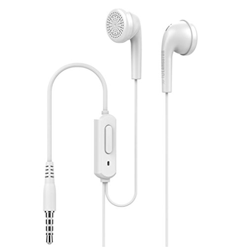 Aluminum In Ear Earphones - SUKEQ Universal Wired Headphones, 3.5mm Piston In-Ear Stereo Earbuds Aluminum Alloy Housing Noise Cancelling Earphone Built in Microphone Headset For iPhone, MP3, MP4, CD, etc (White)