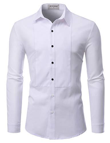 NEARKIN (NKS901 Mens Long Sleeve Trendy Wrinkle Free Stretchy Tuxedo Basic Shirts White US XXL(Tag Size 2XL)
