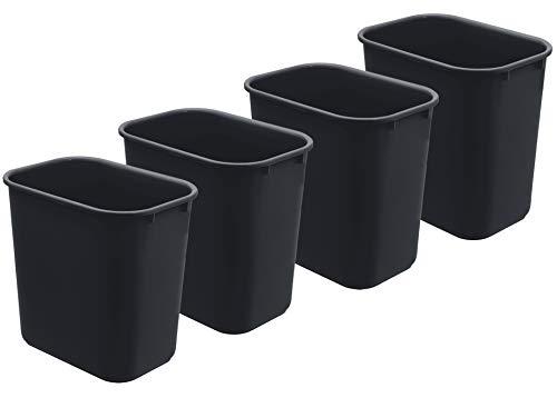 Acrimet Wastebasket 27QT Plastic (Black Color) (4 Pack)