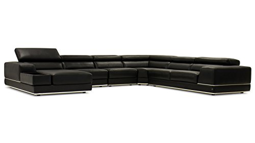 Zuri Furniture Wynn Black Leather Sectional Sofa with Adjustable Headrests – Left Chaise For Sale