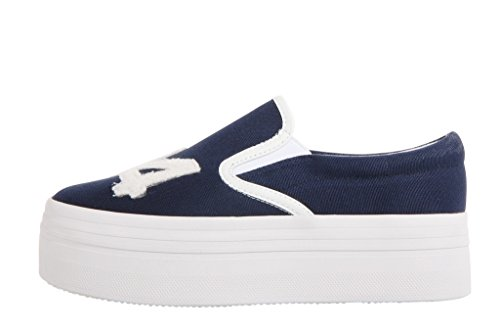 Jeffrey Campbell Wtf 74 Canvas Slip-on Platform Sneakers - Navy / White (38)
