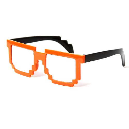 Block Glasses 8-Bit Pixel Video Gamer Geek Costume Party (Orange, - Art Pixel Sunglasses