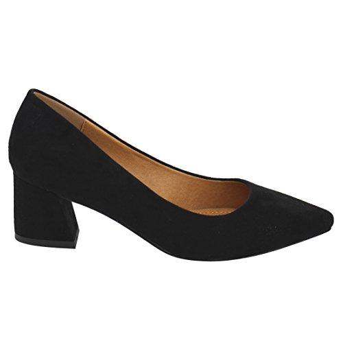 Dbdk Ah47 Womens Work Slip On Chunky Heel Office Pumps Black