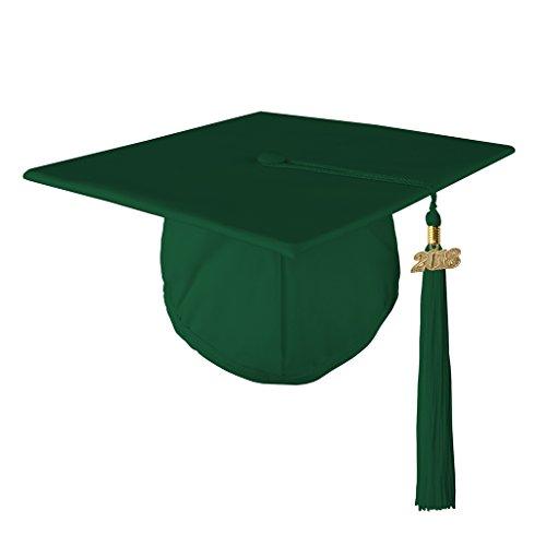Class Act Graduation Graduation Matte Mortar Board Cap and Matching 2018 Tassel- Kelly Green