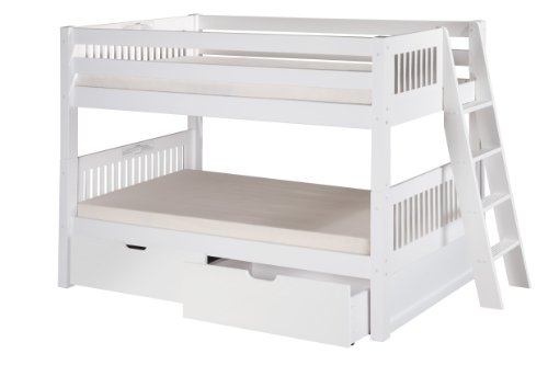 Camaflexi Mission Style Solid Wood Low Bunk Bed with Drawers, Twin-Over-Twin, End Angled Ladder, White