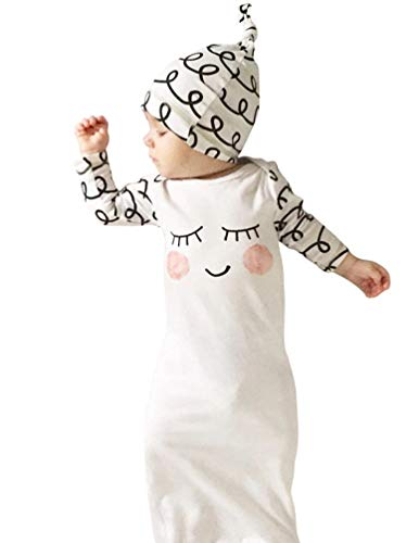COLOOM Baby Long Sleeve Gown Cap Set Newborn Girls Sleeping Sack Gown with Elastic Bottom (Gown Bottom)