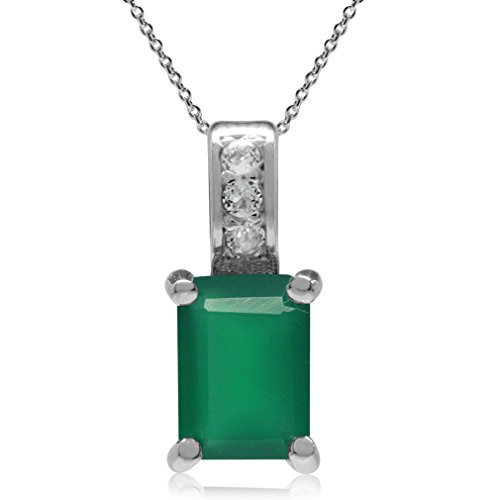 - Natural Emerald Green Agate & White Topaz 925 Sterling Silver Slide Pendant w/18 Inch Chain Necklace