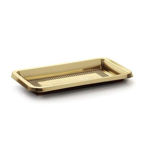 Alcas Mini Rectangular Medoro Plastic Tray 3.35'' x 5.31'' x 0.31'' High with Gold Top and Dark-Brown Bottom - Case of 800