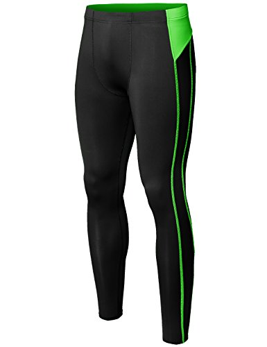Youstar Athletic Base Under Layer Fitness Sports Tight Pant Black Green Size - Career Pants Cuffed