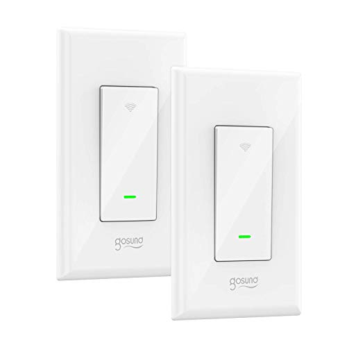 Gosund Smart Switch, Smart Light Switch Works with Alexa, Google home and IFTTT, with Remote Control and Schedule, Needs Neutral Wire, Single-Pole, No Hub required, ETL and FCC listed (2 Pack)