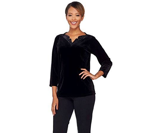Bob Mackie 3/4 Sleeves Knit Velvet Top Sequin V Neckline Black M New A271132