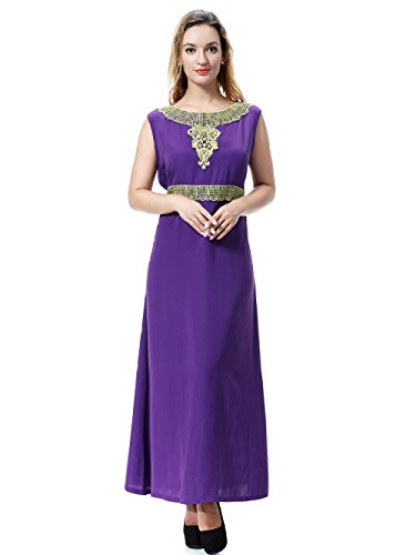 Frauen Abendgesellschaft Kleid Kleid Lady Sommer Plain Schwarz Grün Ethnische Lila Cocktail Rosa Stickerei Sleeveless Robe Purple Langes rvrqCw