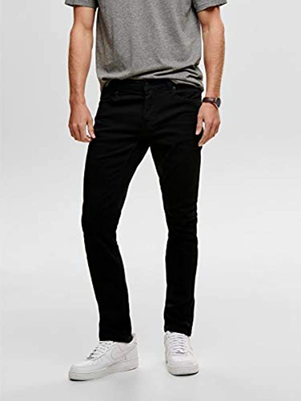 Only & Sons Onsloom Black męskie jeansy Slim Fit: Odzież