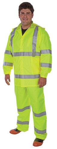 Liberty DuraWear Hi-Viz Poly Oxford Fabric Polyurethane Coating 3-Piece Class 3 Protective Rainsuit with Reflective Stripes, 2X-Large, Lime Green