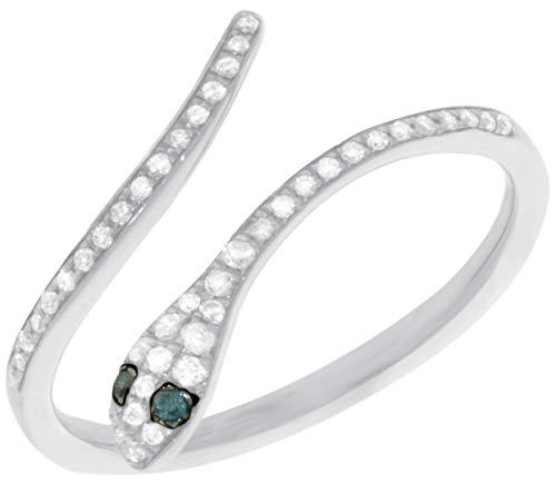 Gold Ring White Snake (GoldenSnake 0.17Ct.White and Blue Diamond Ring, 10k White Gold Snake Shape Ring, Size 6)