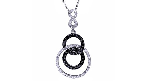 - Jewel Zone US Black & White Natural Diamond Triple Circle Infinity Drop Pendant Necklace 925 Sterling Silver (1/10 Ct)