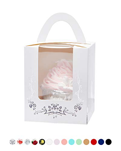 (Yotruth Bride and Bridegroom Wedding Cupcake Boxes with Cake White and Silver Stamping for Wedding Favors 50 Sets (Choice Series))