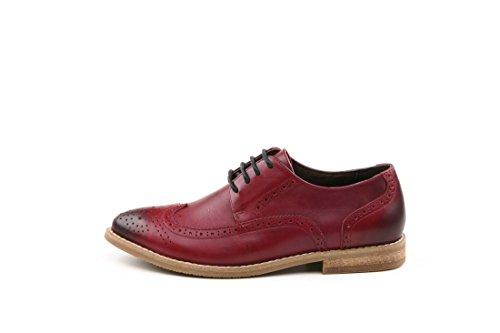 TDA - Zapatos Planos con Cordones mujer rojo vino