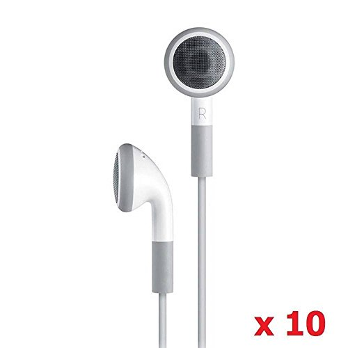 SeattleTech Wholesale Basic White Earphones (10 Pack) 3.5mm in-Ear Headset Bulk Earbuds for iPhone iPad Android Mac PC