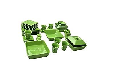 Amazon.com | Nova 45 Piece Square Dish Set Green: Dinnerware Sets