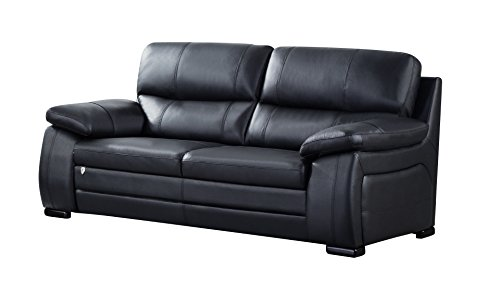 American Eagle Furniture EK041-BK-SF Elmore Collection Upholstered Italian Leather Living Room Sofa with Pillow Top Armrests, Black ()