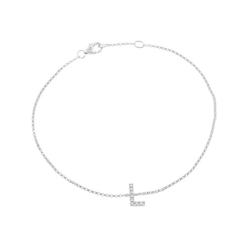 14k White Gold Diamond Studded Letter ''L'' Initial Bracelet, 7.5'' by Isha Luxe-Initials