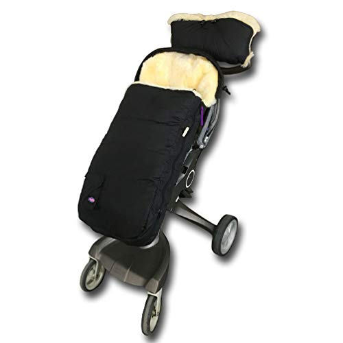(Weather Resistant Australia Anti-Dirty Anti-Bacterial Sheepskin Stroller Bunting Bag Fits All Joggers,Comes with Anti-Freeze Thick Lambskin Fingless Handmuff Warmer,Cream)