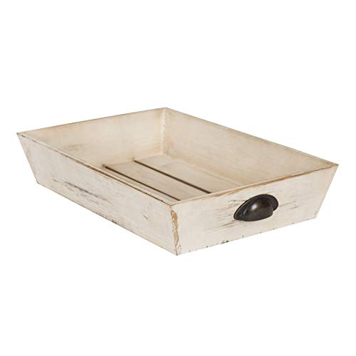 Kate and Laurel Woodmont Distressed Wood Decorative Tray, - Wood Distressed Tray White