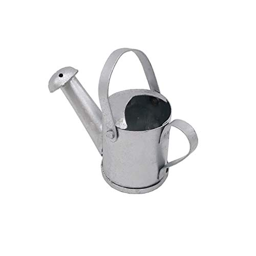 (Binory Mini Metal Silver Watering Can for 1/12 Dollhouse Furniture,Fashion Modern Design Miniature Garden Kids Pretend Toy,Creative Birthday Handcraft)