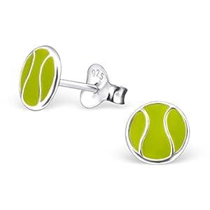Sterling Silber 925 Sport Schmuck Tennisball-Ohrstecker für Kinder
