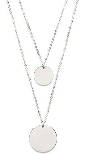 Double Happiness Circle Necklace - Circle Layered Necklace in Silver Color | Double Row Necklace with 2 Round Disc Pendants