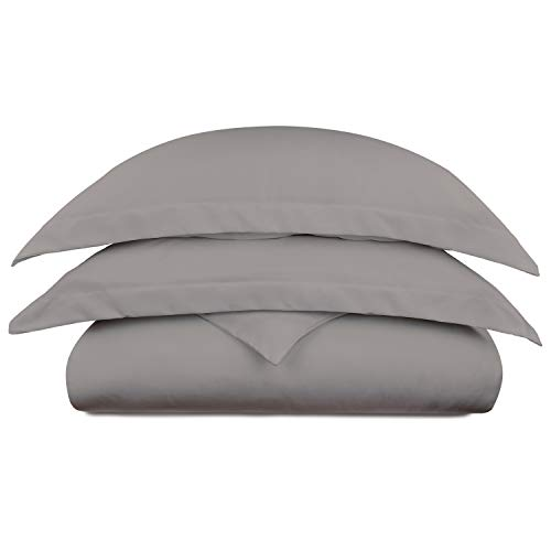 - Cosy House Collection Luxury Bamboo Duvet Cover Set 3-Piece - Ultra Soft Hypoallergenic Bedding - Zippered Comforter Protector, Includes 2 Pillow Shams - Full/Queen - Grey