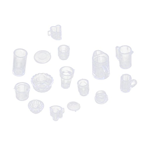 Dovewill 15Pcs/Set Mini Plastic Doll House Miniatures Tableware Drink Accessories Dollhouse Cup Bowl Set for Barbie Dolls Accessories